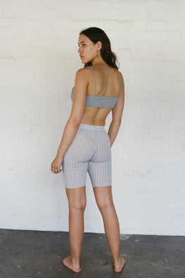 PERMANENT VACATION Index Bike Short – Lavender Gingham Seersucker - THENINETYNINE