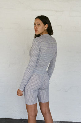 PERMANENT VACATION Index Long Sleeve Top – Lavender Gingham Seersucker - THENINETYNINE