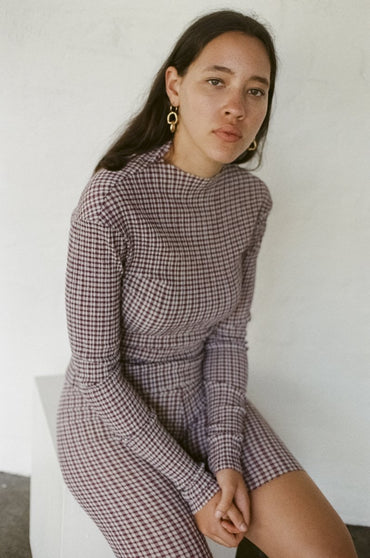 PERMANENT VACATION Index Long Sleeve Top – Burgundy Gingham Seersucker | THENINETYNINE Online Store