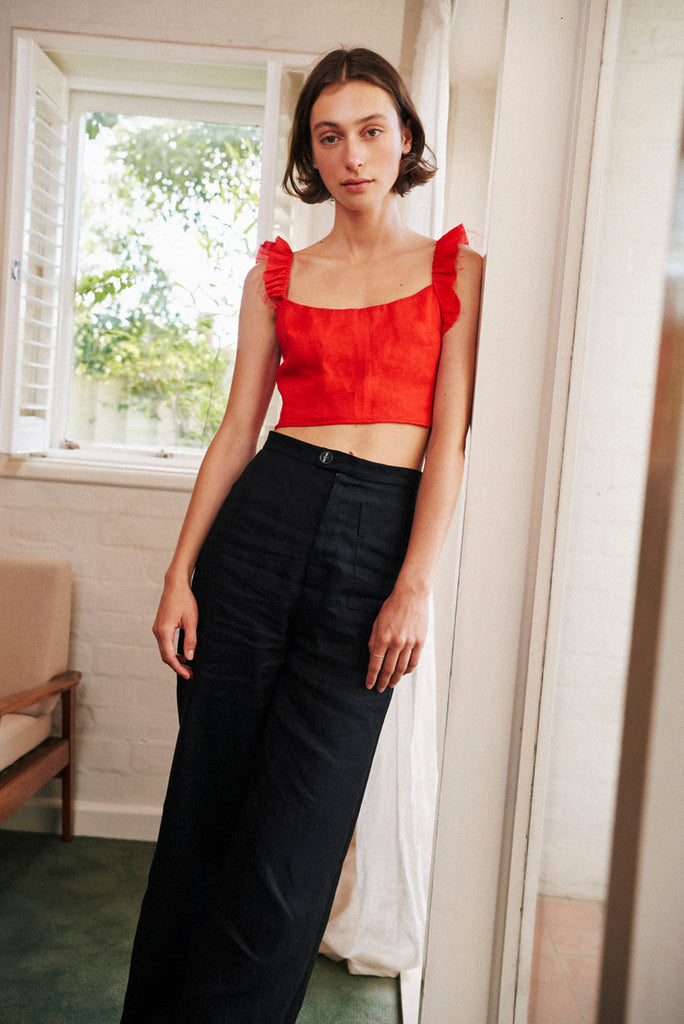 SISTER 'Lucy' High-Waisted Linen Pant – Black | THENINETYNINE Online Store