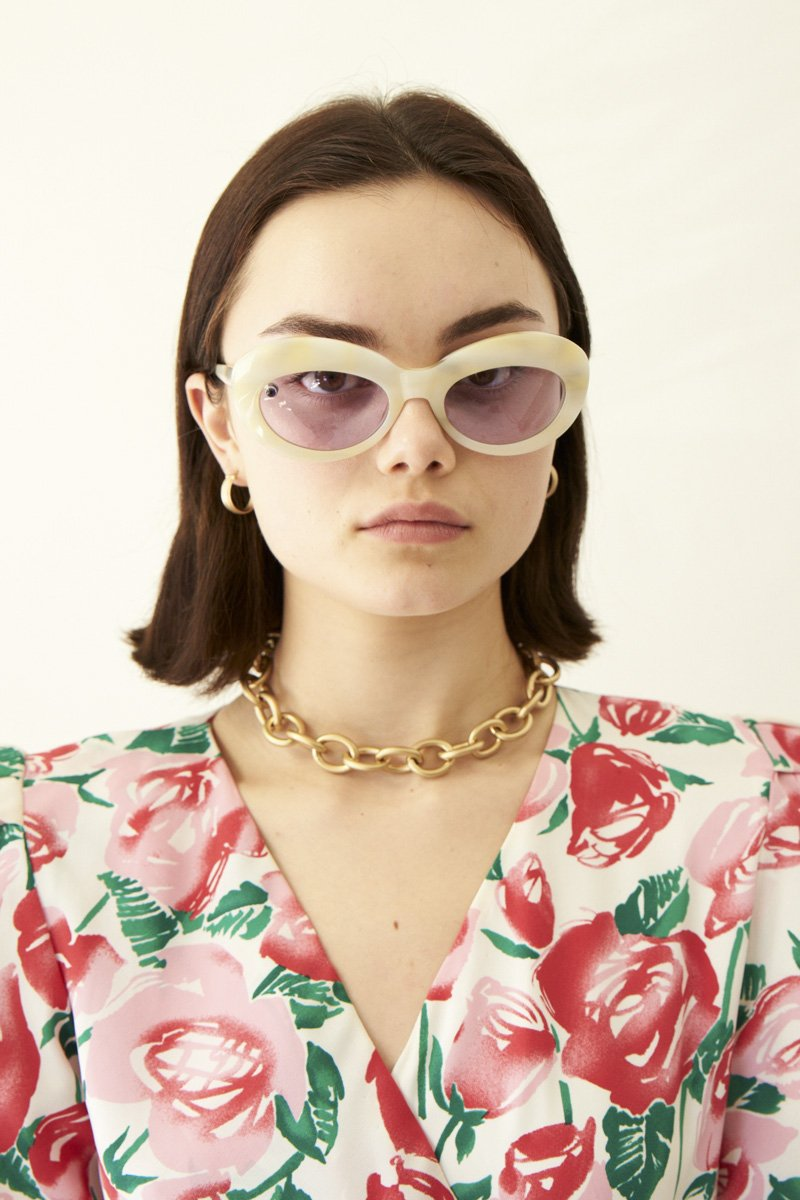 POMS 'Sabina' Sunglasses – Ivory with Amethyst | THENINETYNINE Online Store