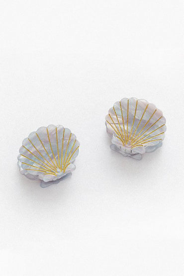 VALET 'Ursula' Shell Hair Clips – Blue