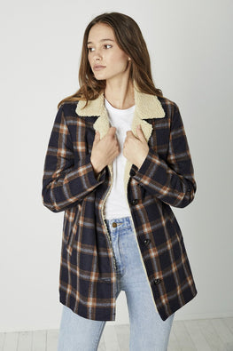 ROLLA'S Sherpa Coat – Navy and Brown Check - THENINETYNINE