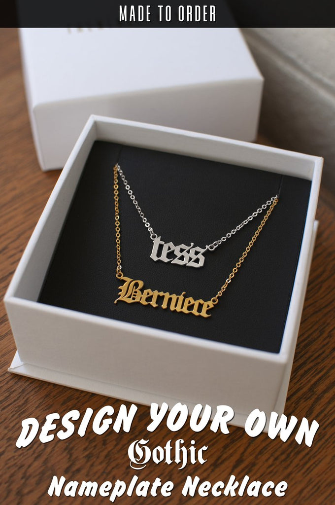 Custom Nameplate Necklace – 18ct Gold Plated or 925 Sterling Silver in Gothic Font | THENINETYNINE Online Store
