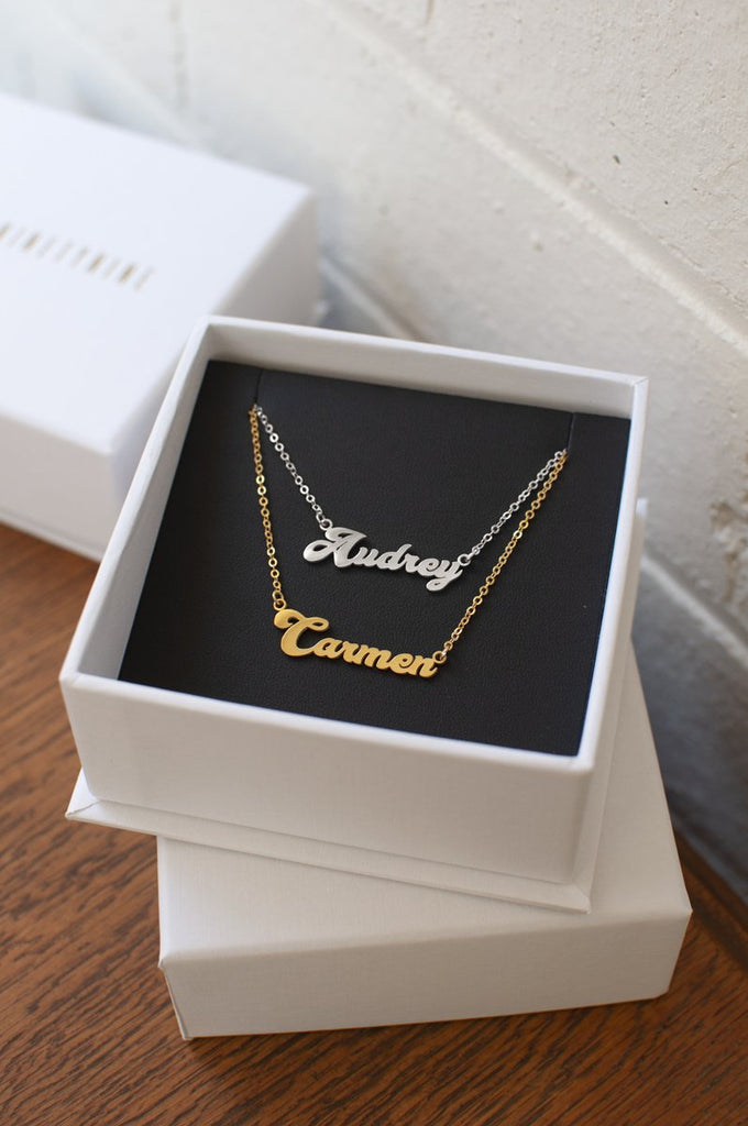 Custom Nameplate Necklace – 18ct Gold Plated or 925 Sterling Silver in Psych Font | THENINETYNINE Online Store