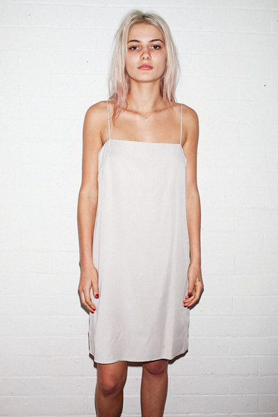 PERMANENT VACATION Simple Mini Dress – Pale Beige - THE NINETY NINE - 1