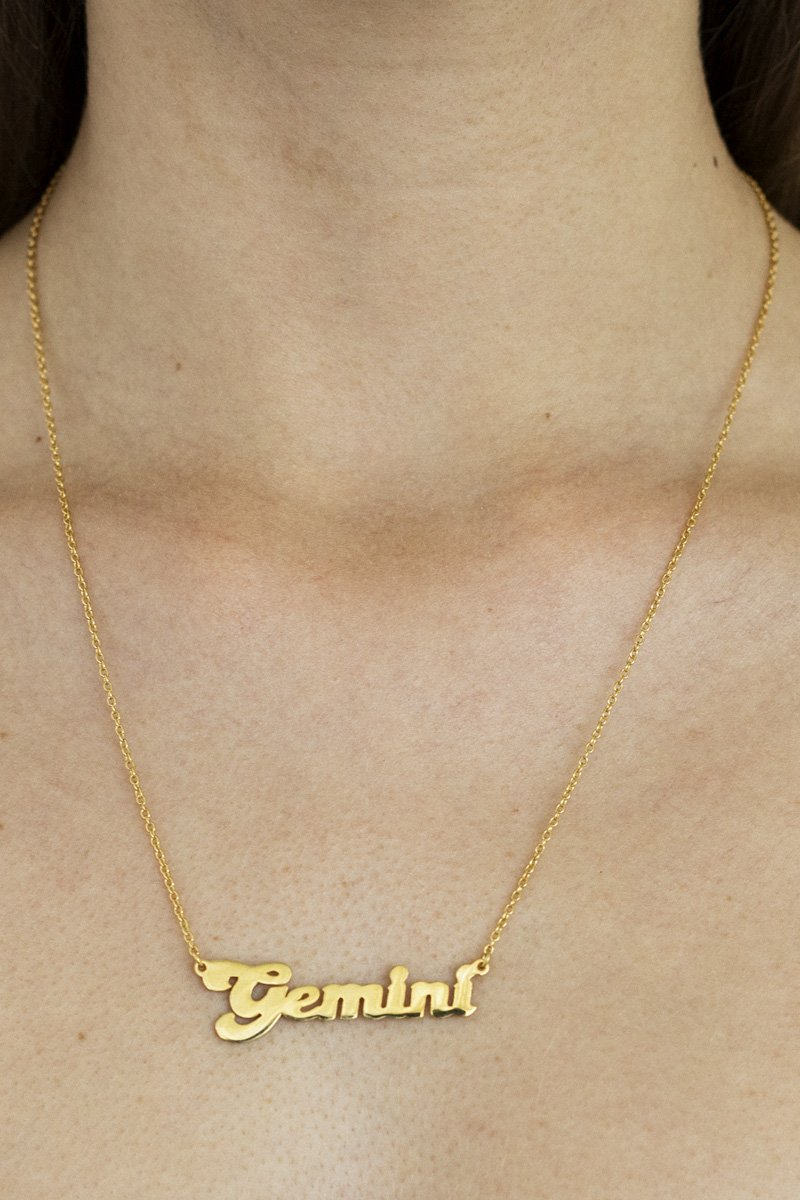 Gemini Zodiac Nameplate Necklace – 18k Gold Plated - THENINETYNINE