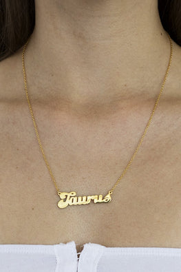 Taurus Zodiac Nameplate Necklace – 18k Gold Plated - THENINETYNINE