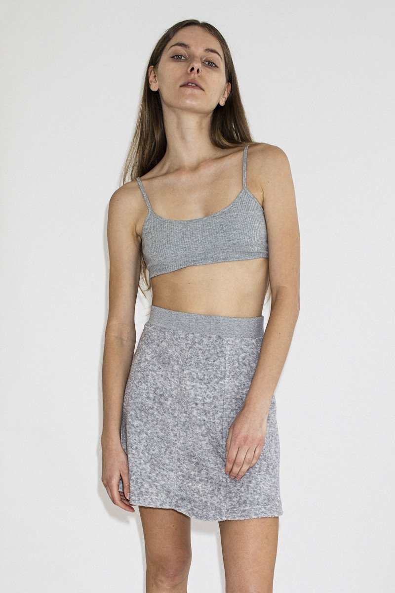 PERMANENT VACATION Ribbed Crop Top – Cool Grey - THENINETYNINE