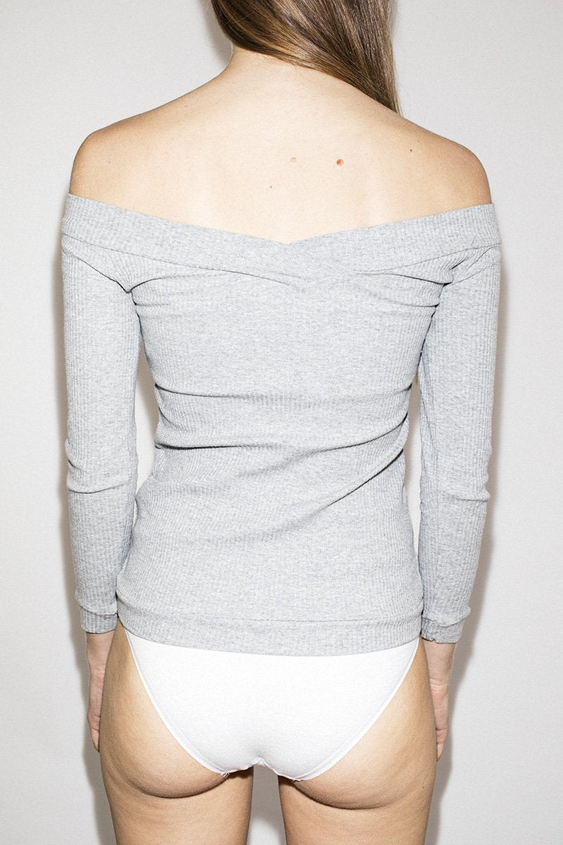 PERMANENT VACATION Shoulderless Top – Cool Grey