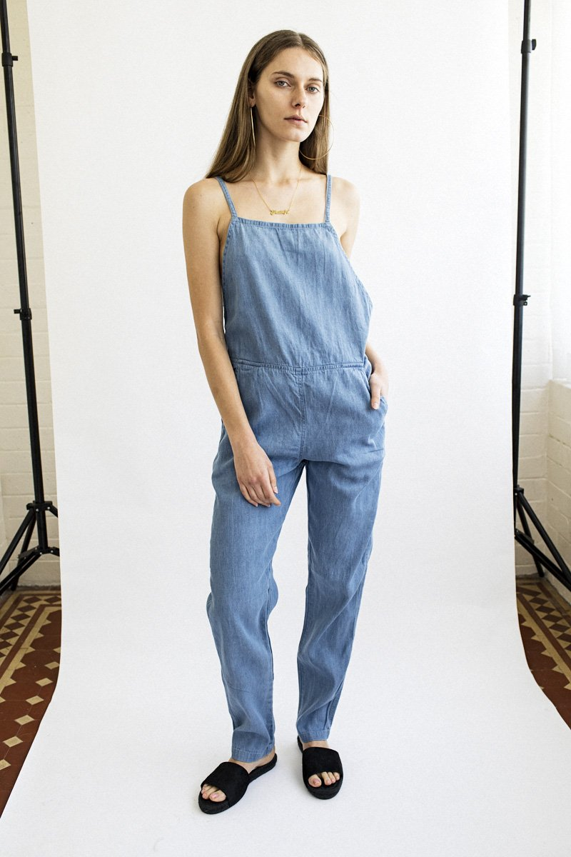 PERMANENT VACATION Minimalist Jumpsuit – Bleached Denim
