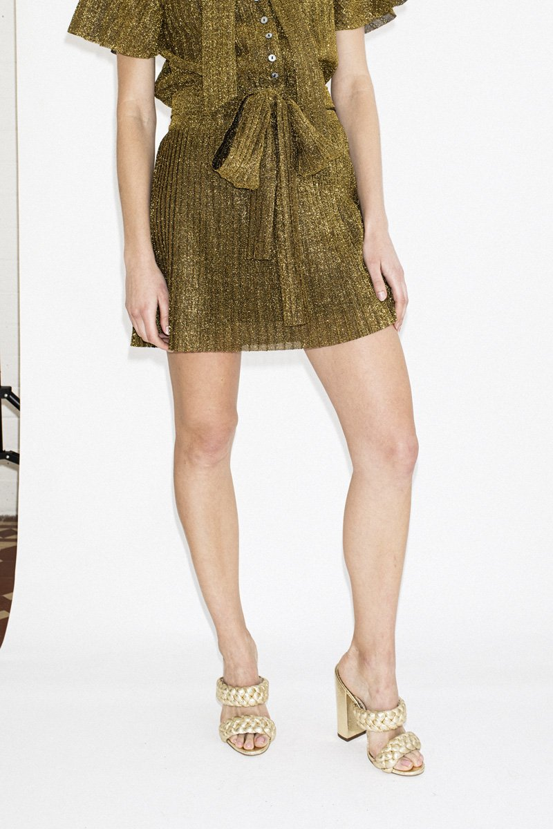 LENNI 'Virtue' Mini Skirt – Gold Pleat