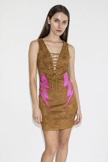 LENNI 'Bolt' Dress – Tan - THENINETYNINE