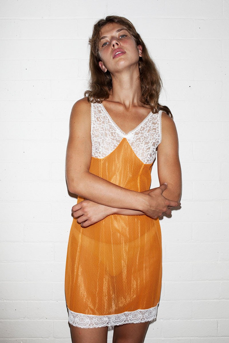 Vintage Slip Dress – Orange - THE NINETY NINE - 3
