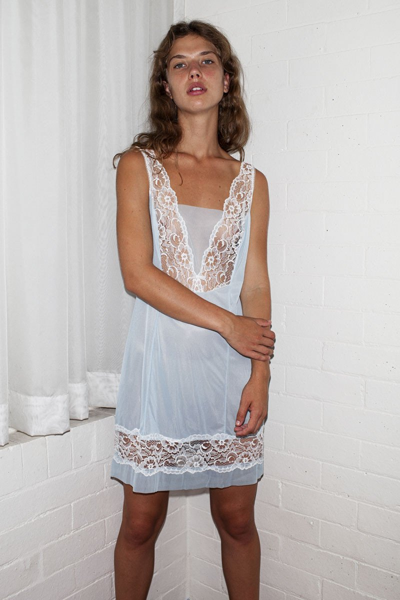 Vintage Slip Dress – Baby Blue - THE NINETY NINE - 3