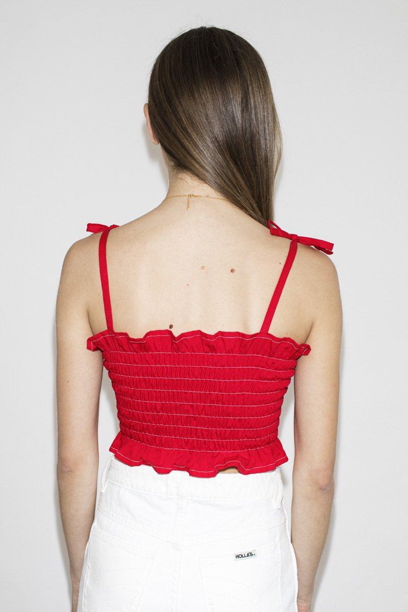 SISTER 'Mary' Shirred Top – Red