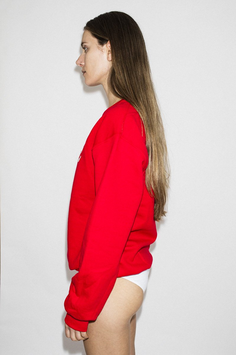 Double Trouble 'The Lover' Embroidered Jumper – Red - THENINETYNINE