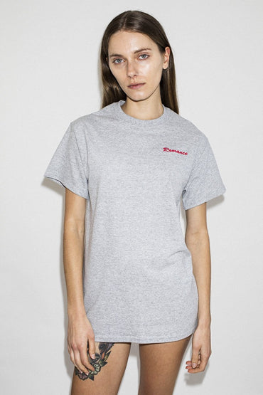 Double Trouble Gang 'Romance' Embroidered T-shirt – Grey Marle - THENINETYNINE