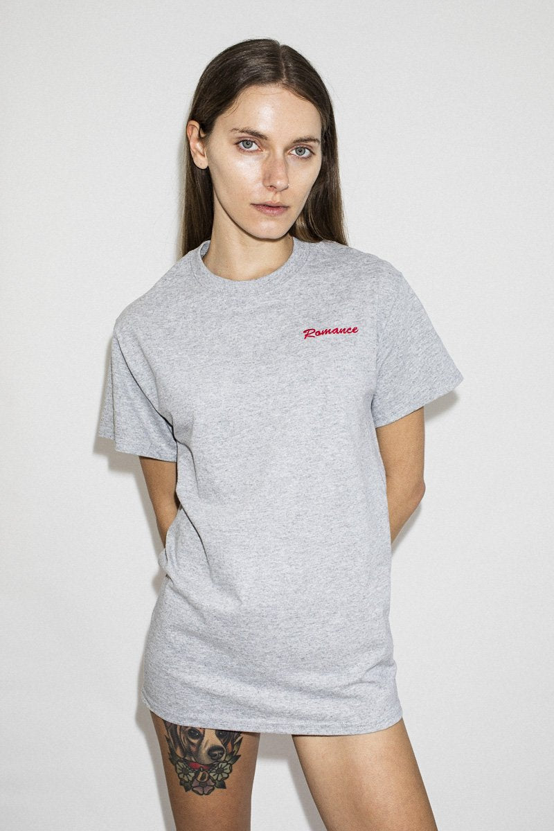 Double Trouble 'Romance' Embroidered T-shirt – Grey Marle