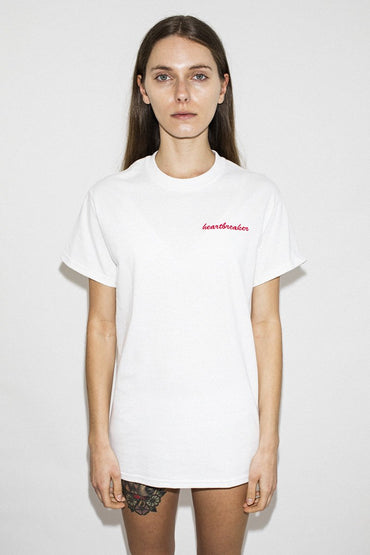 Double Trouble Gang 'Heartbreaker' Embroidered T-shirt – White - THENINETYNINE