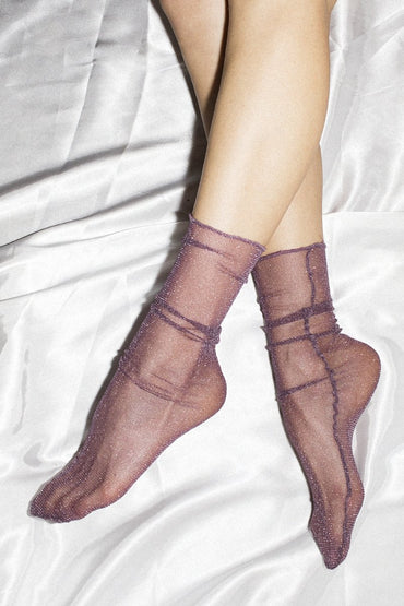 Sheer Metallic Lurex Crew Socks – Plum - THENINETYNINE
