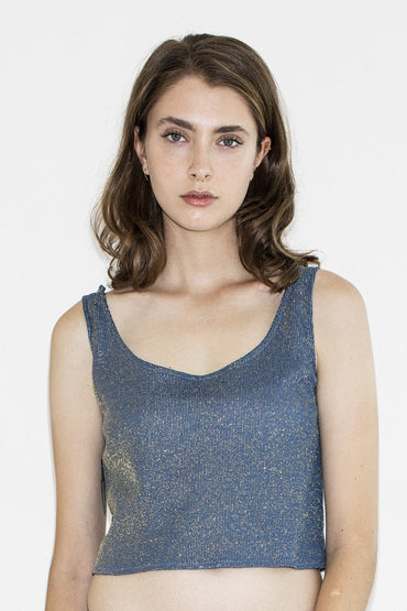 Vintage Metallic Shimmer Top – Blue