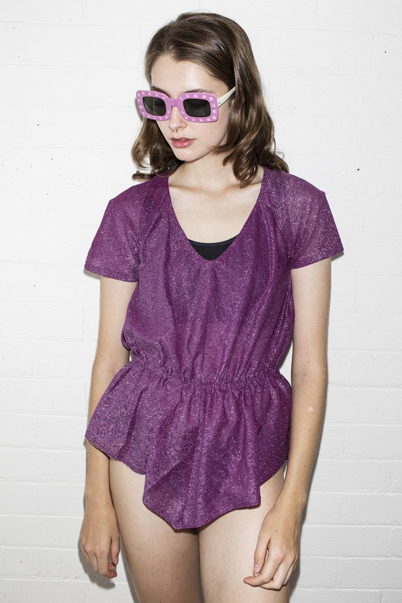 Vintage 'Deb Goes To Prom' Lurex Top – Grape