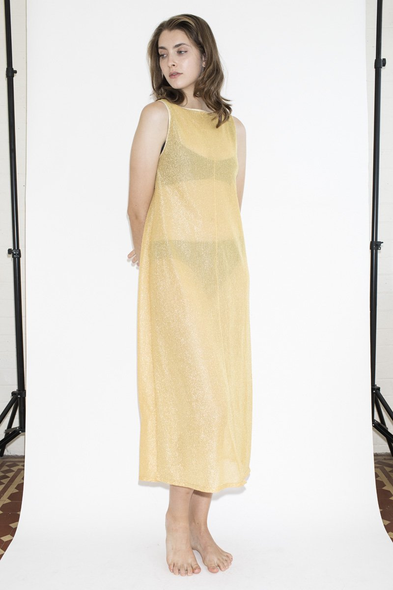 Vintage Pool House Lurex Dress – Gold