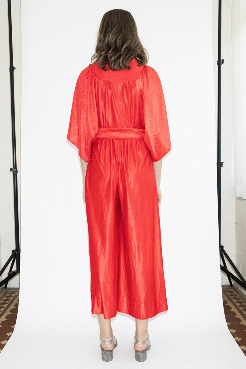 Vintage Flame Thrower Velvet Jumpsuit – Red