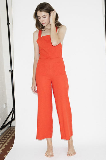 ROLLA'S Linen Nights Jumpsuit – Flame Red - THENINETYNINE