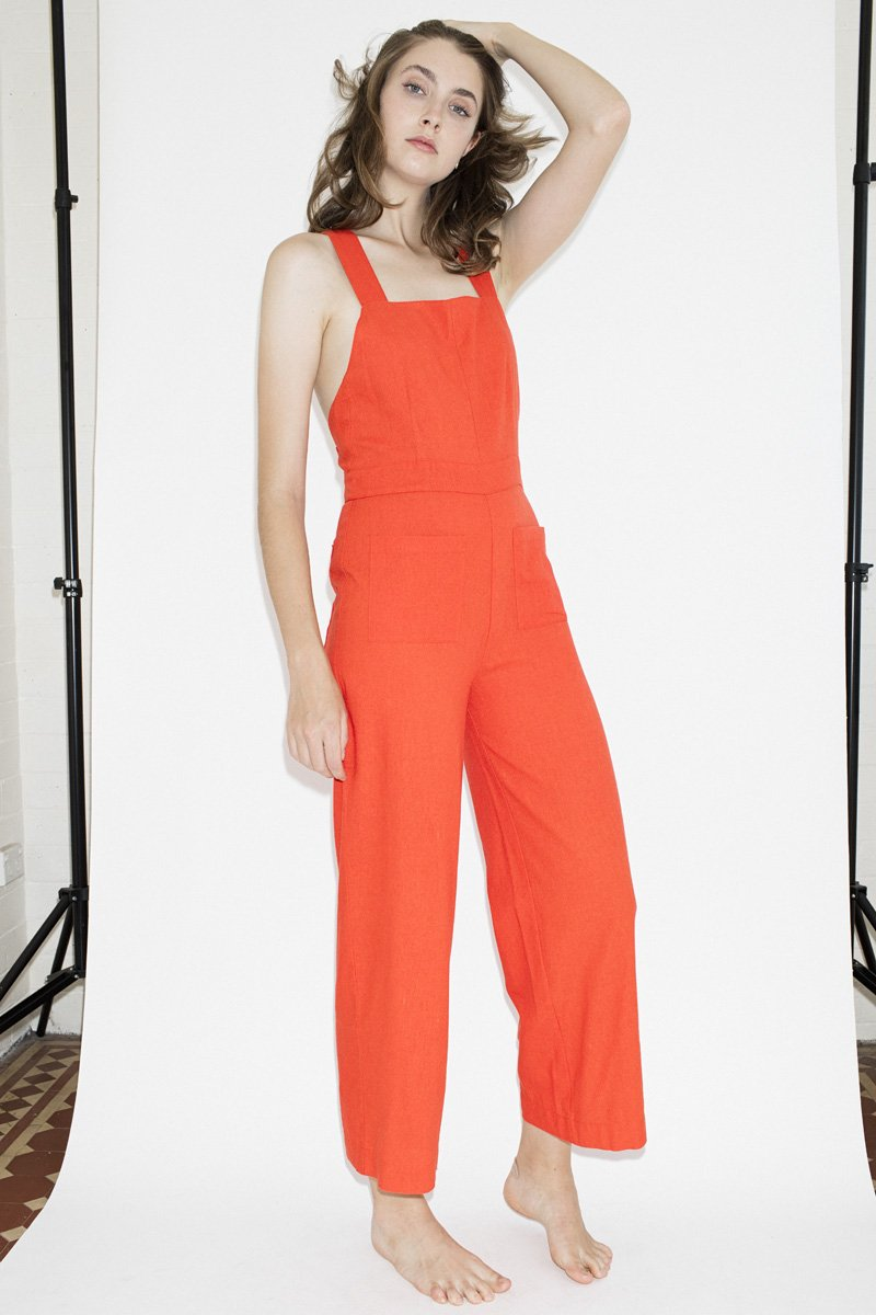 Rolla's Linen Nights Jumpsuit – Flame Red