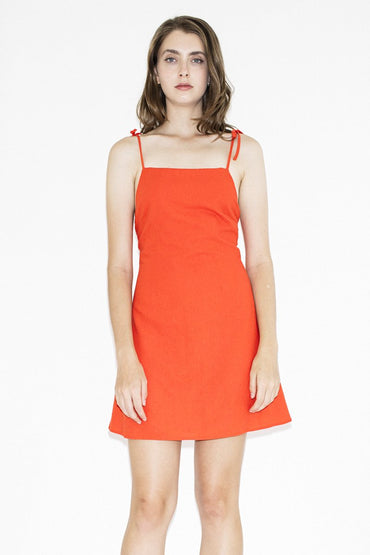 ROLLA'S Tie 'Bridget' Dress – Flame - THENINETYNINE