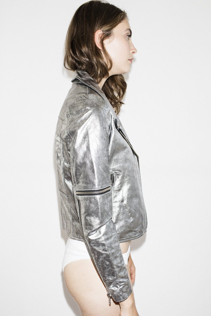 NEUW Madison Leather Jacket – Silver - THENINETYNINE