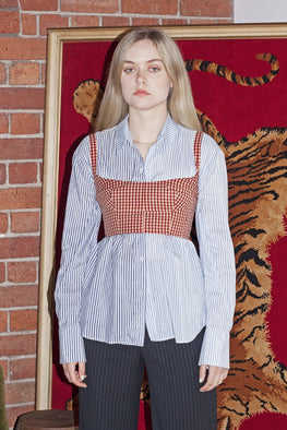 SISTER 'Izzy' Bodice Crop – Red Gingham - THENINETYNINE