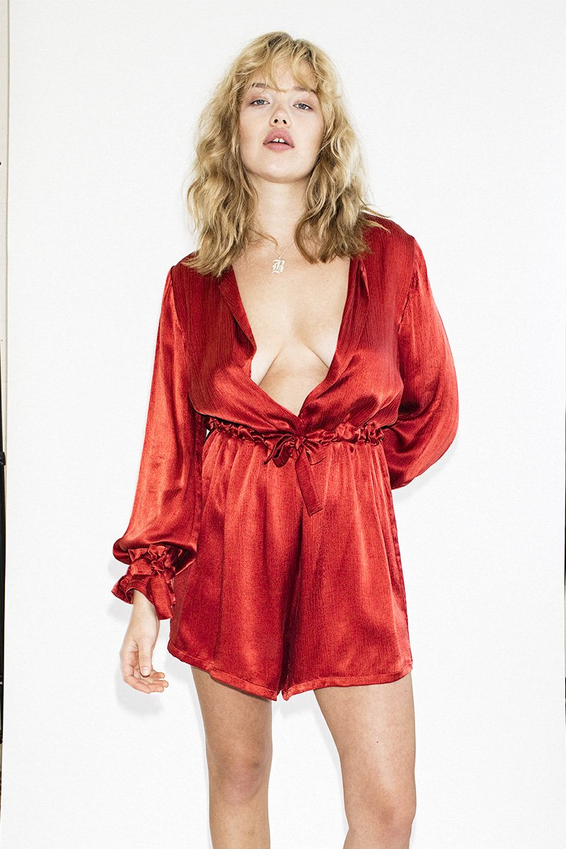 THIRD FORM 'Intrigue' Tied Playsuit – Scarlet