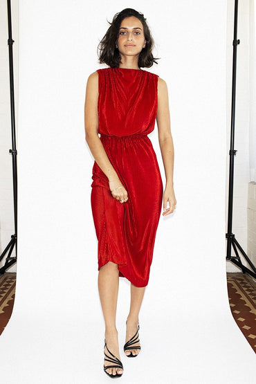 THIRD FORM 'Pawa' Pleated High Rise Dress – Rust