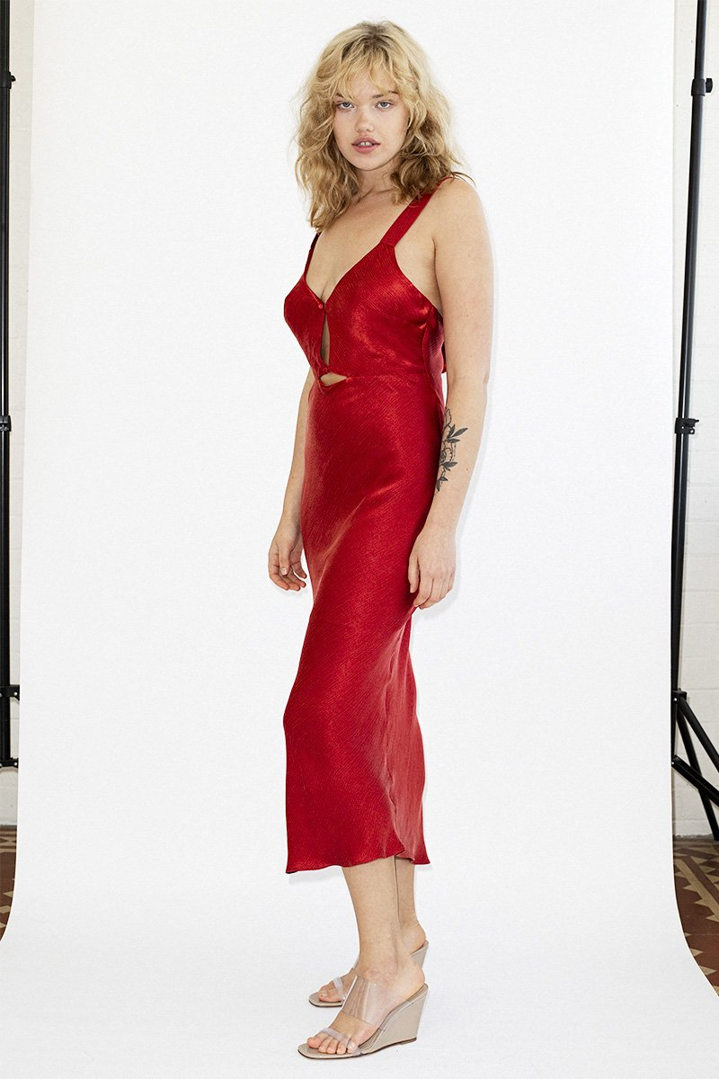 THIRD FORM 'Intrigue' Bias Slip Dress – Scarlet