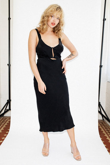 THIRD FORM 'Intrigue' Bias Slip Dress – Black
