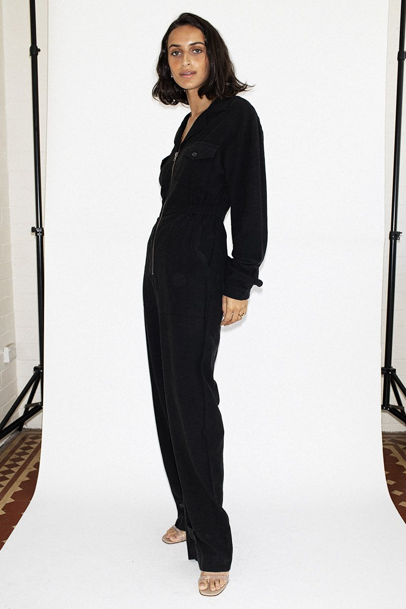 NEUW 'Flight' Linen Jumpsuit – Midnight Black | THENINETYNINE Online Store