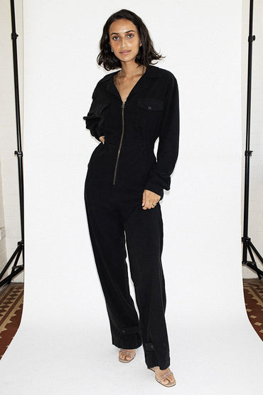NEUW 'Flight' Linen Jumpsuit – Midnight Black - THENINETYNINE