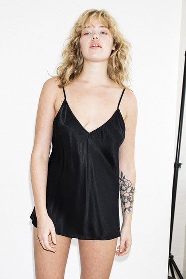 NEUW Bias Cami – Black Satin - THENINETYNINE