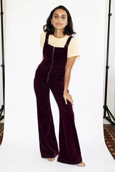 ROLLA'S Eastcoast Flare Overalls – Bordeaux Cord