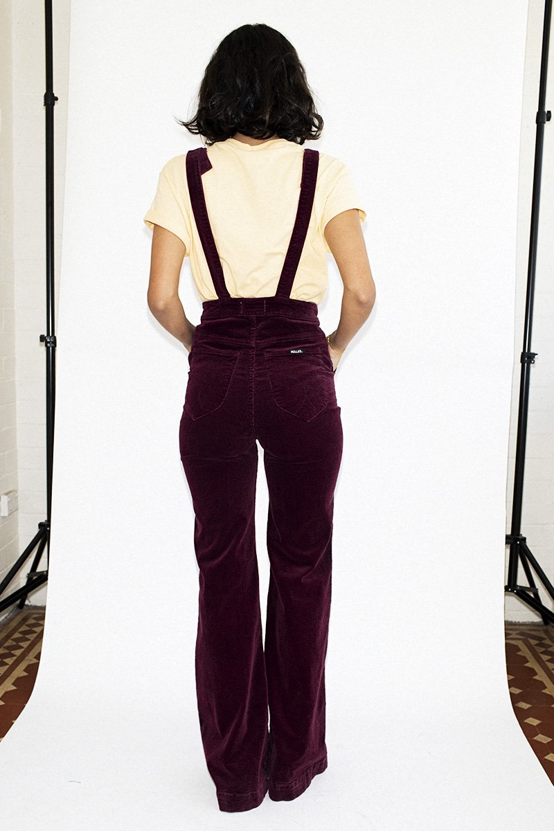 ROLLA'S Eastcoast Flare Overalls – Bordeaux Cord - THENINETYNINE