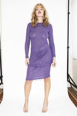 PERMANENT VACATION Sheer Knit Dress – Ultra Violet - THENINETYNINE