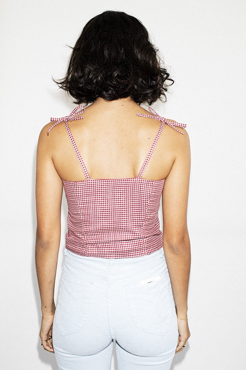 SISTER 'May' Lace-Up Bodice Top – Gingham - THENINETYNINE