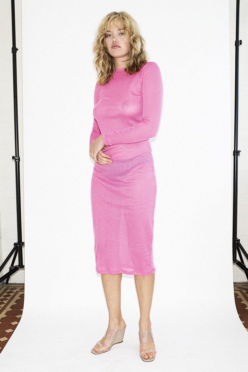 PERMANENT VACATION Sheer Knit Dress – Pink - THENINETYNINE