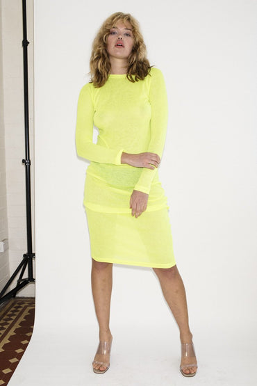 PERMANENT VACATION Sheer Knit Dress – Neon Yellow - THENINETYNINE