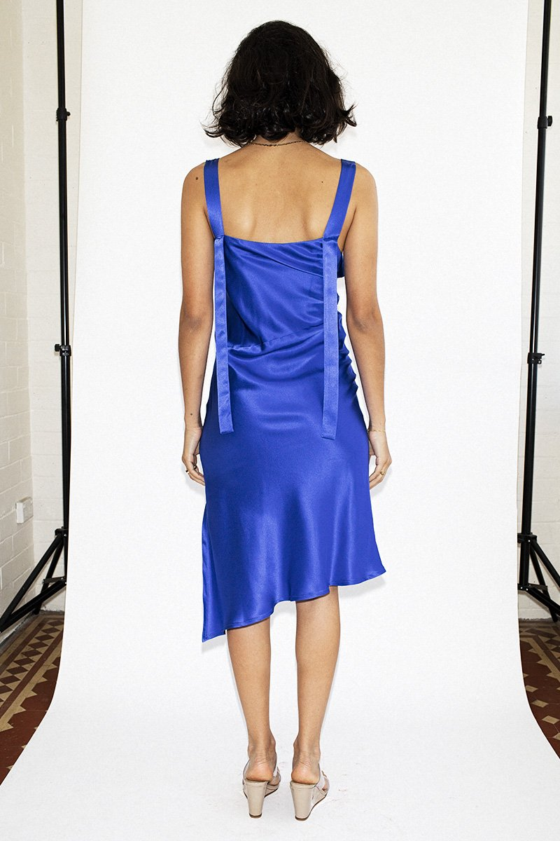 PERMANENT VACATION 'Utopian' Silk Dress – Royal Blue - THENINETYNINE