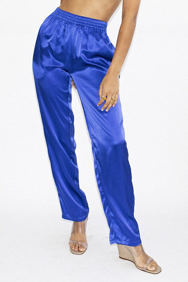 PERMANENT VACATION 'Utopian' Silk Pants – Royal Blue - THENINETYNINE