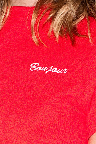 Double Trouble 'Bonjour' Embroidered T-shirt – Red - THENINETYNINE
